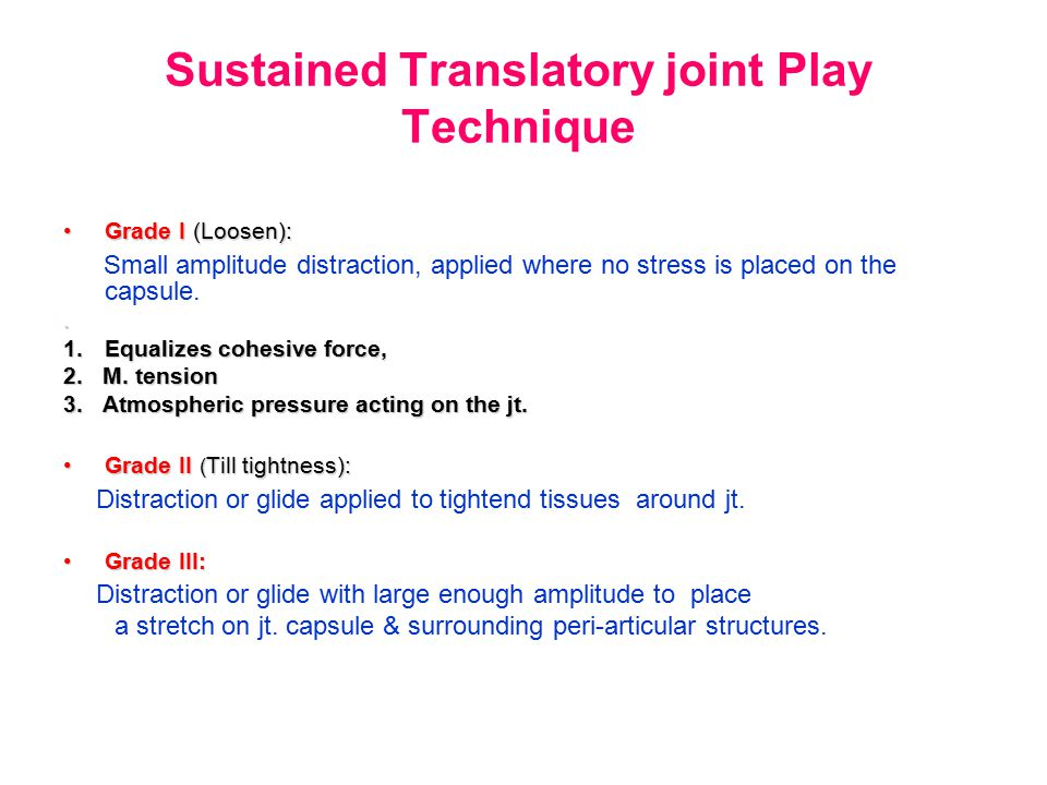 Sustained Translatory joint Play Technique