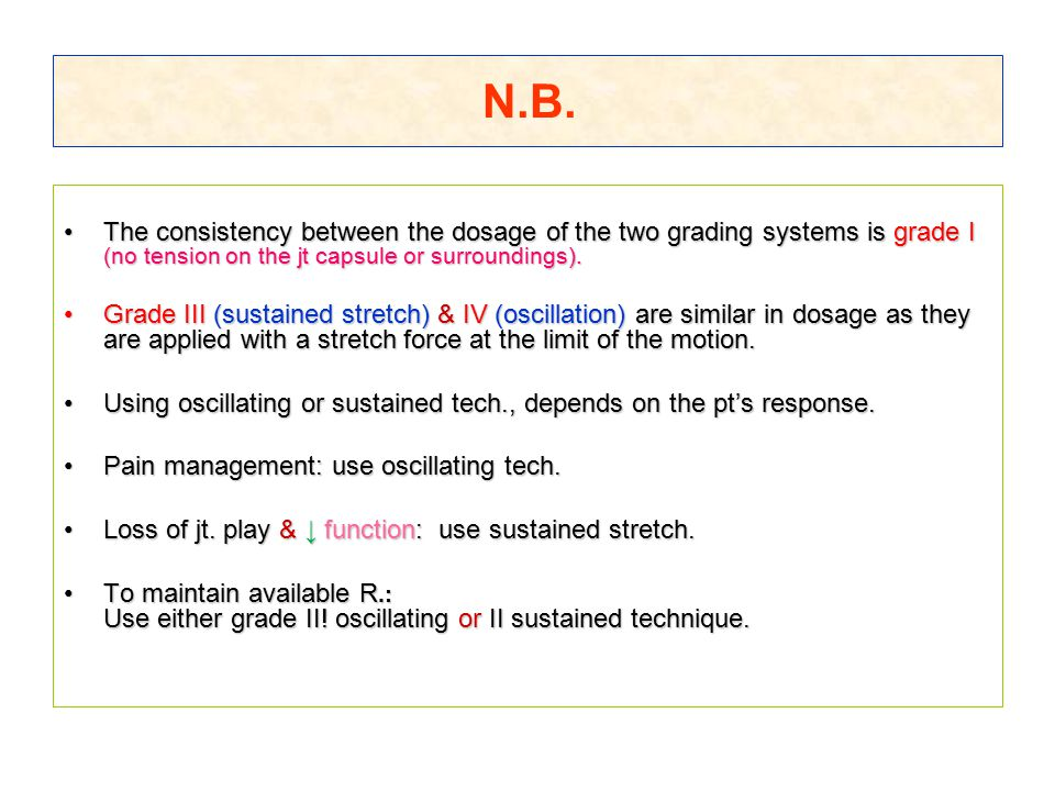 N.B. The consistency between the dosage of the two grading systems is grade I (no tension on the jt capsule or surroundings).