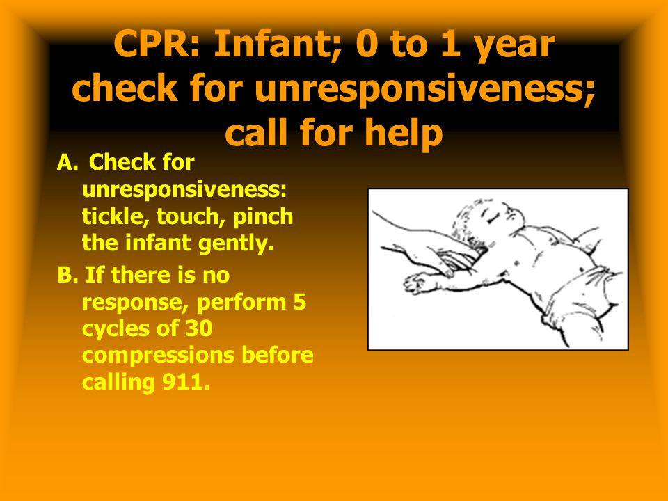 CPR: Infant; 0 to 1 year check for unresponsiveness; call for help