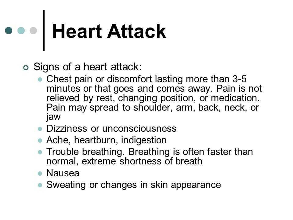 Heart Attack Signs of a heart attack: