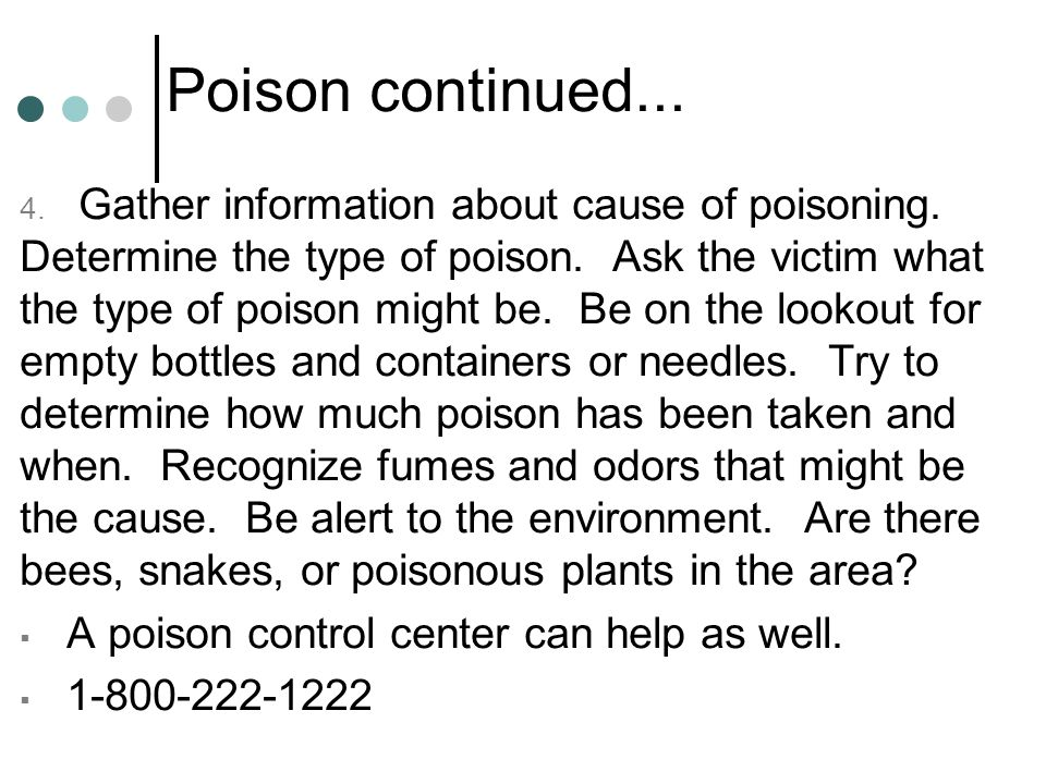 Poison continued...