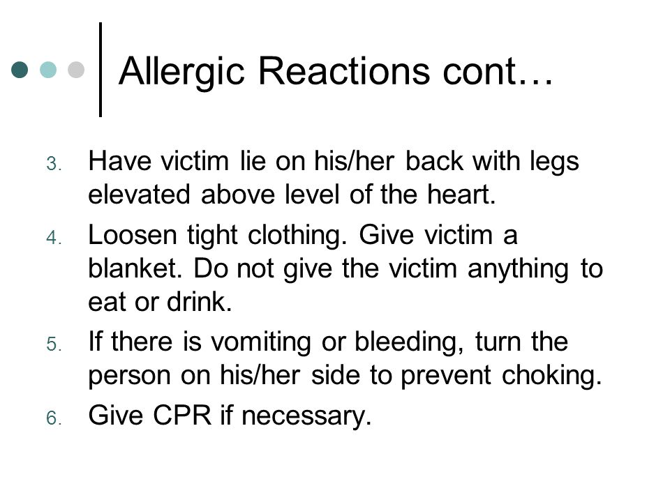 Allergic Reactions cont…