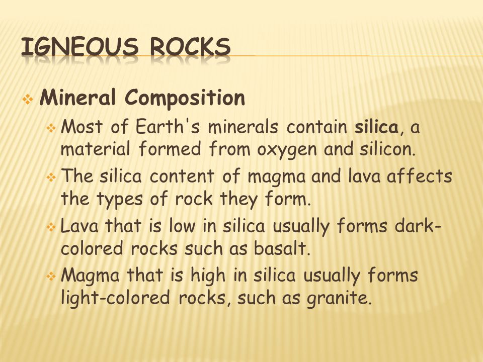 Igneous rocks Mineral Composition