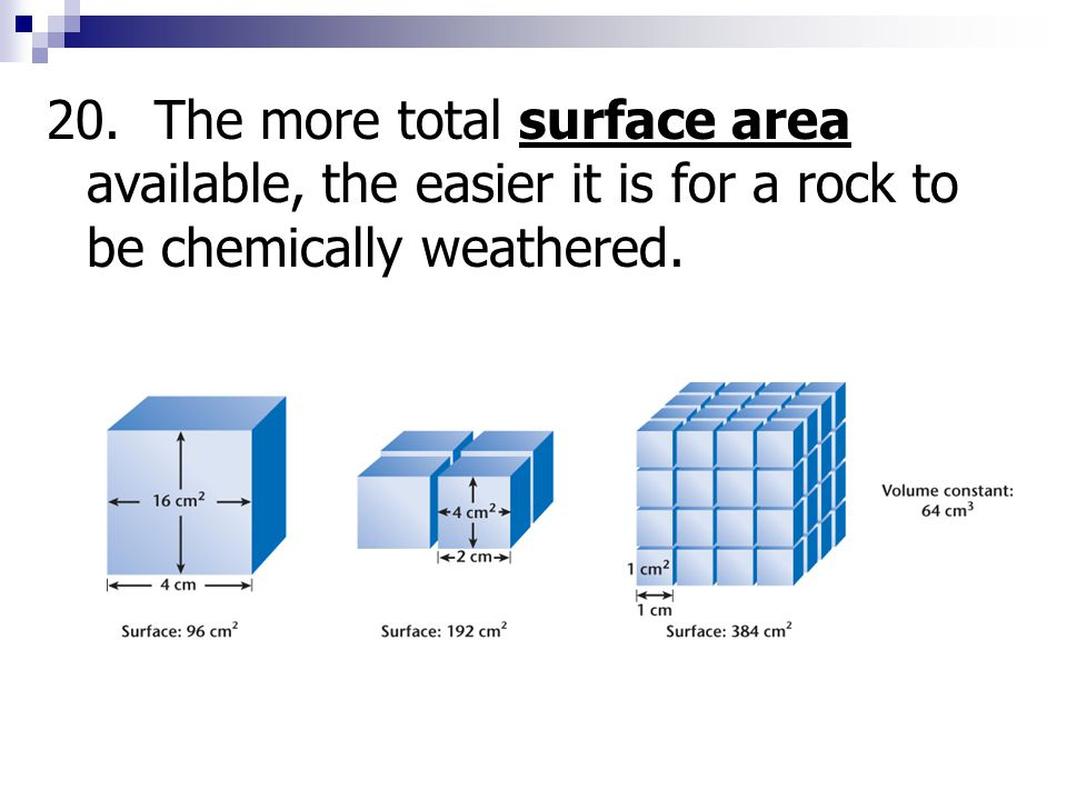 20. The more total surface area available, the easier it is for a rock to be chemically weathered.