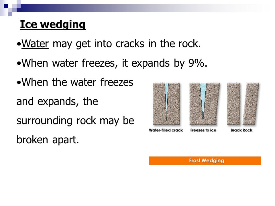 Expands Ice wedging Water may get into cracks in the rock.