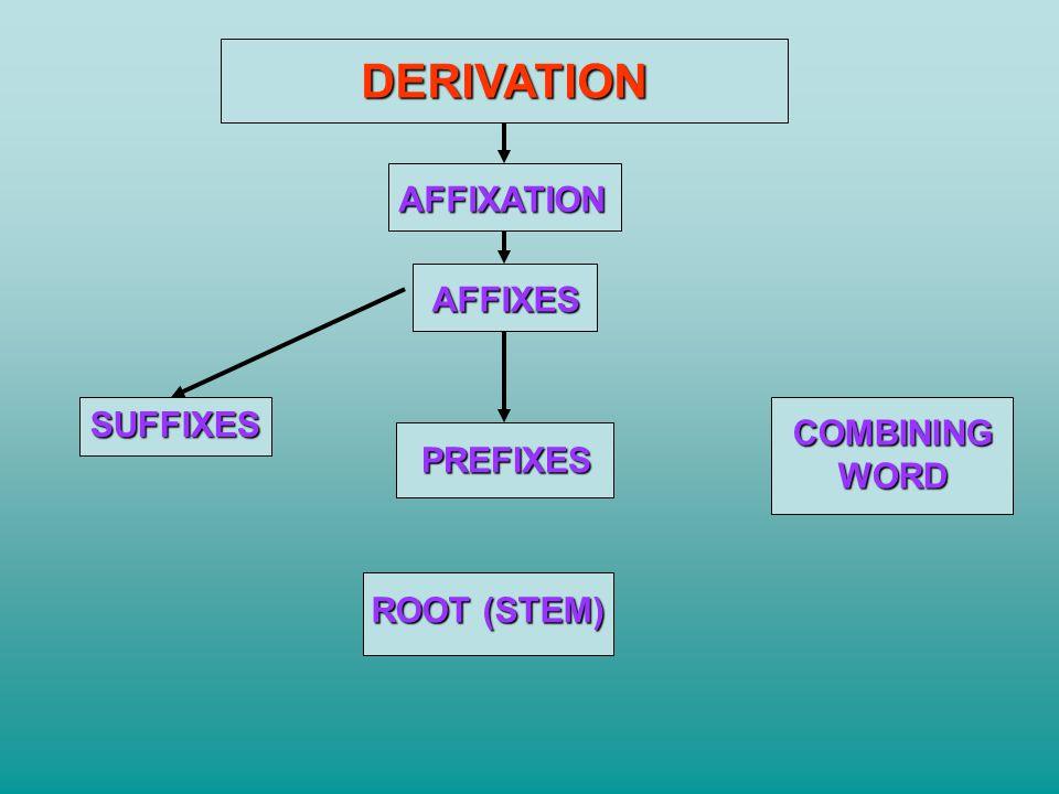 DERIVATION AFFIXATION AFFIXES SUFFIXES COMBINING WORD PREFIXES