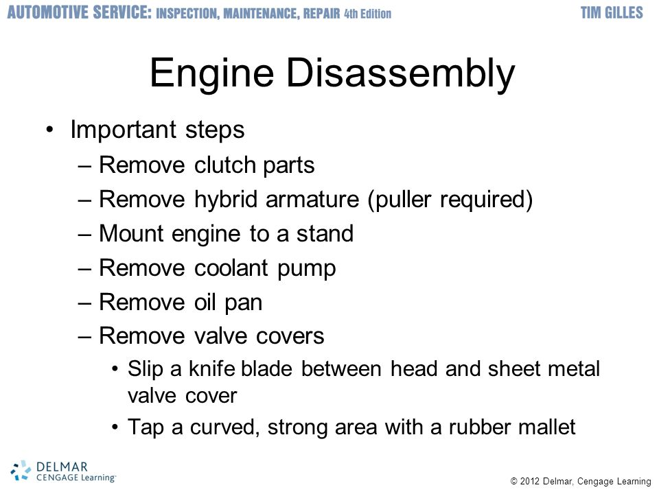 Engine Disassembly Important steps Remove clutch parts