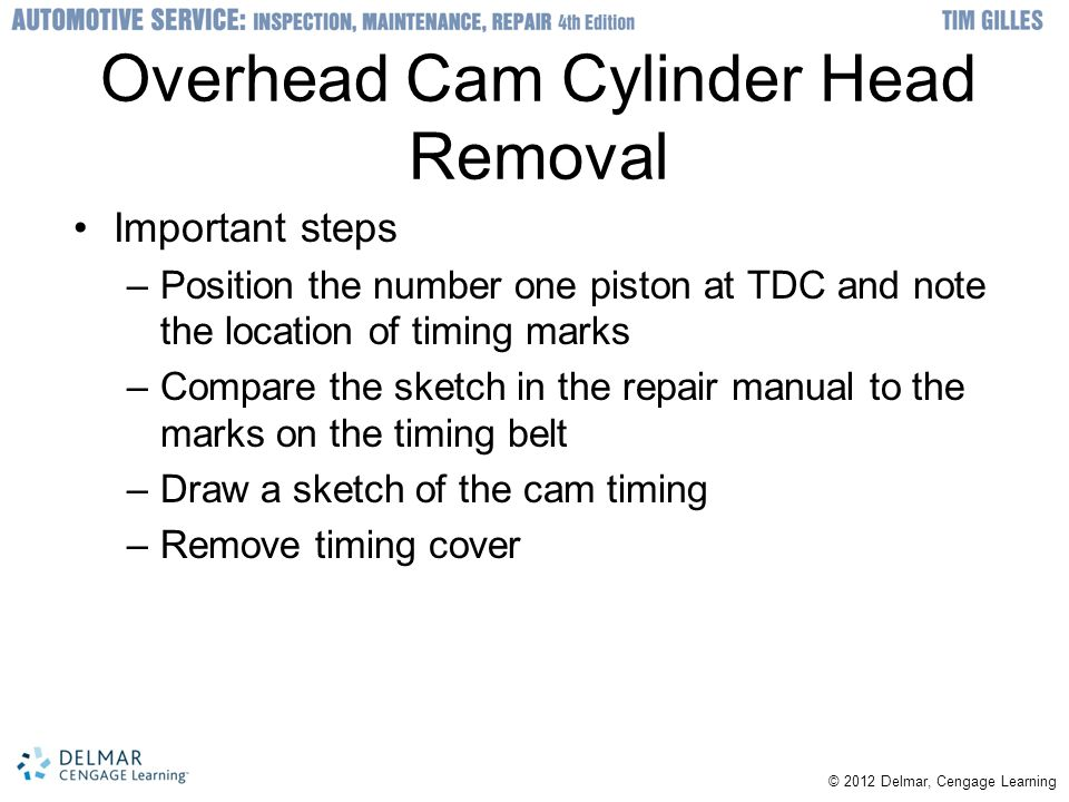 Overhead Cam Cylinder Head Removal