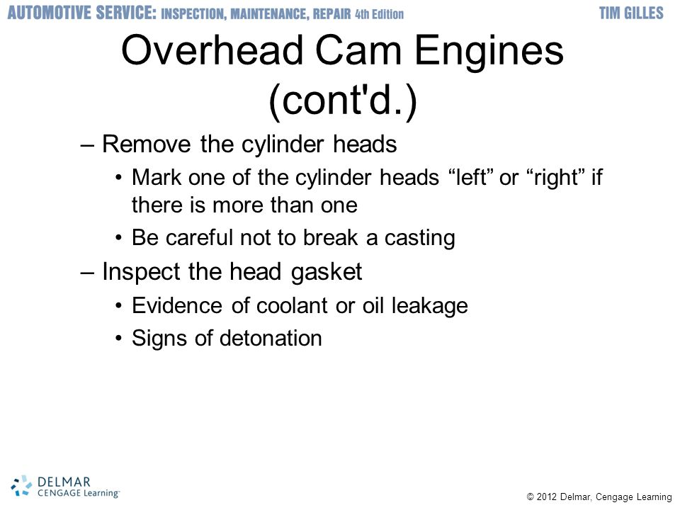 Overhead Cam Engines (cont d.)