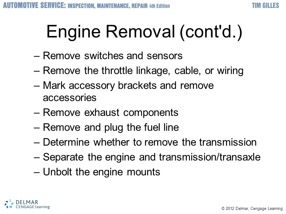Engine Removal (cont d.)