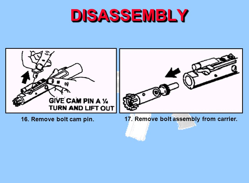 DISASSEMBLY 16. Remove bolt cam pin.