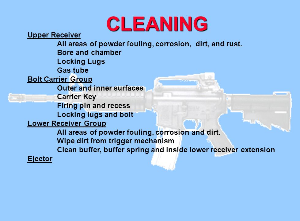 Upper Receiver. All areas of powder fouling, corrosion, dirt, and rust