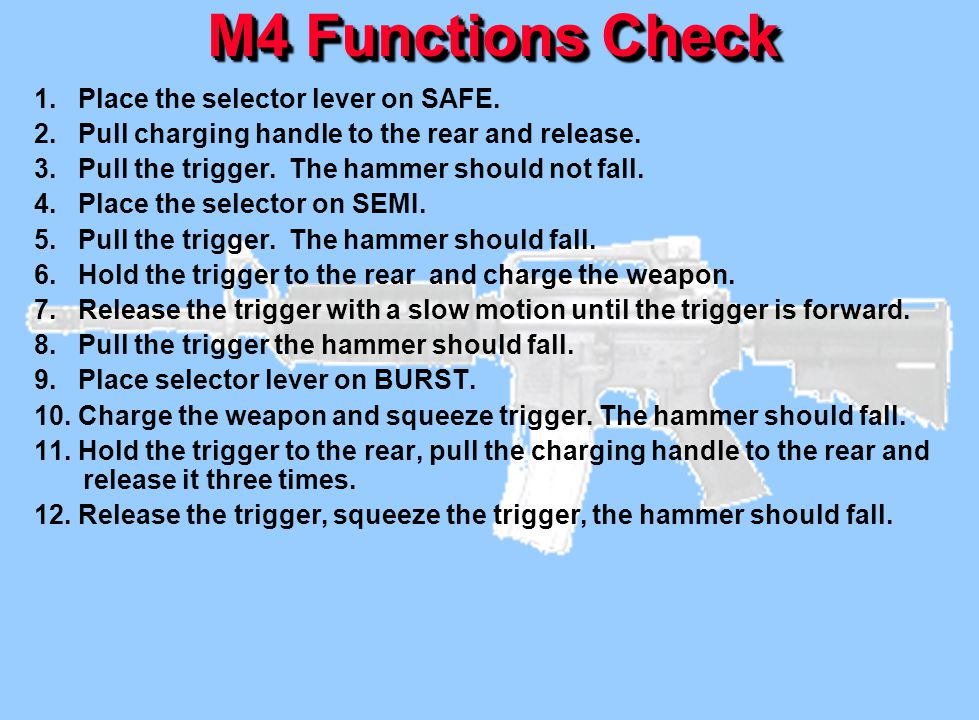 M4 Functions Check 1. Place the selector lever on SAFE.