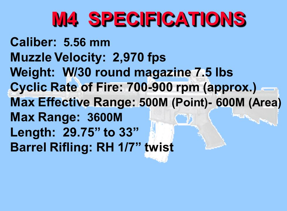 M4 SPECIFICATIONS