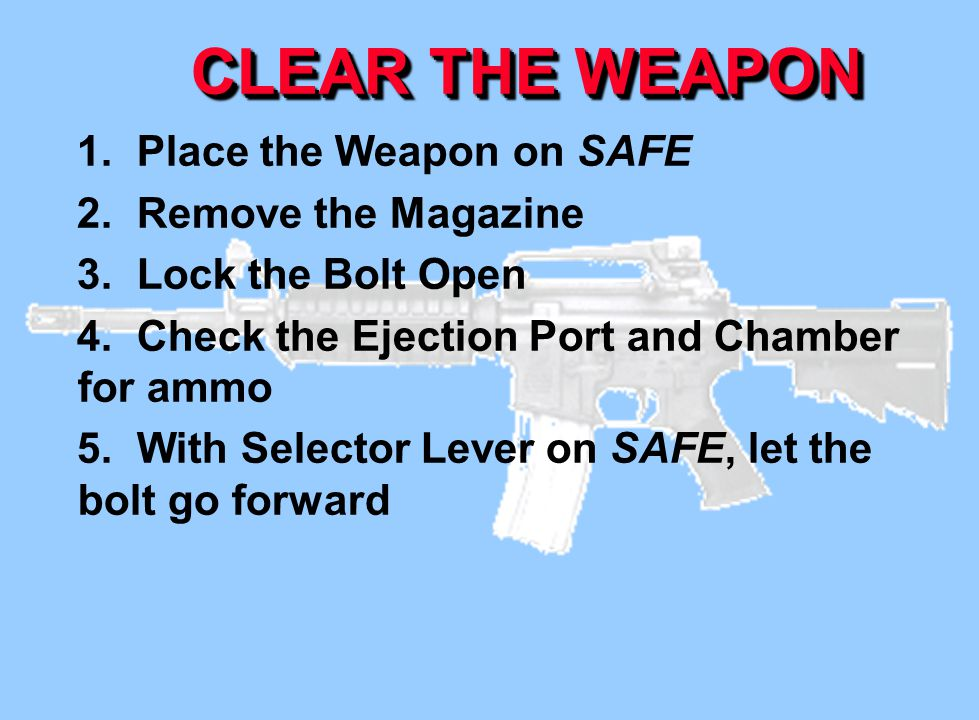 CLEAR THE WEAPON 1. Place the Weapon on SAFE 2. Remove the Magazine