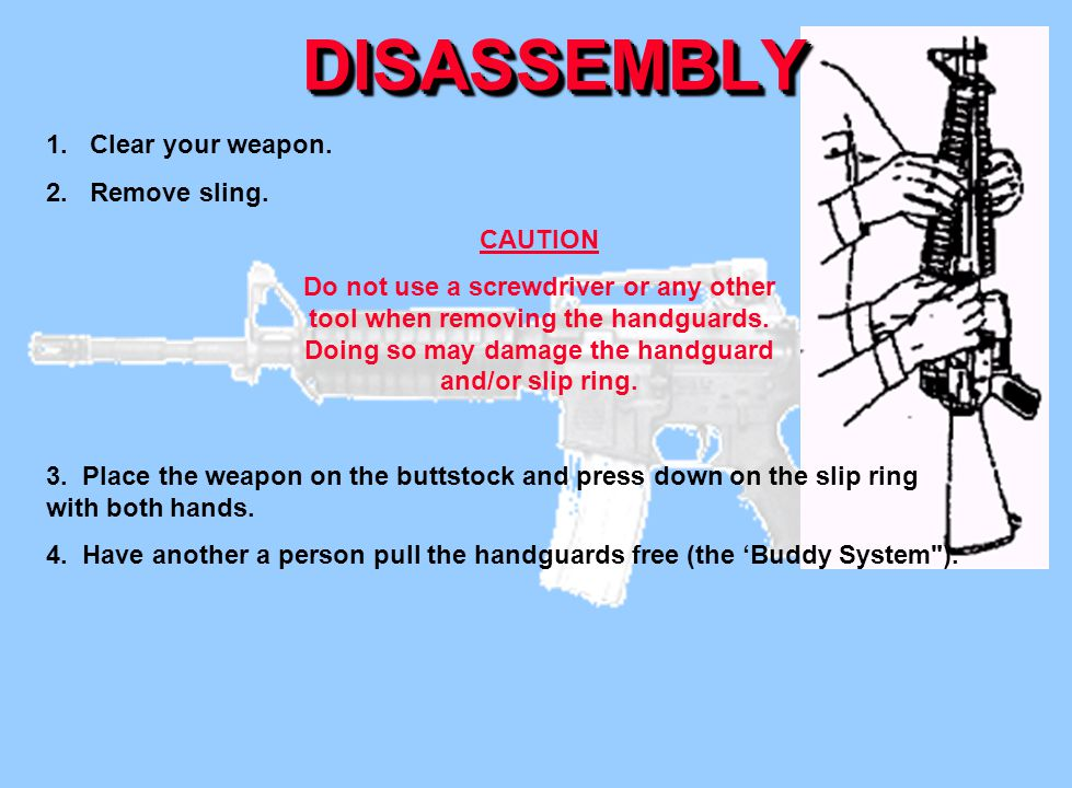 DISASSEMBLY 1. Clear your weapon. 2. Remove sling. CAUTION
