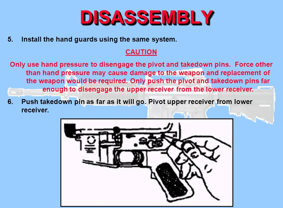 DISASSEMBLY Install the hand guards using the same system. CAUTION