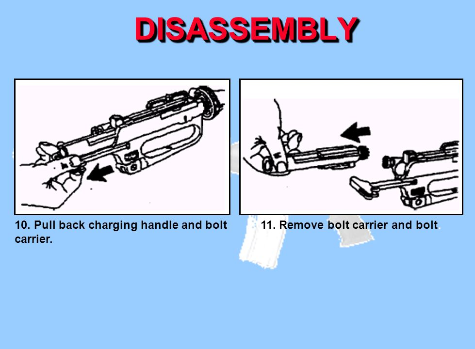 DISASSEMBLY 11. Remove bolt carrier and bolt.