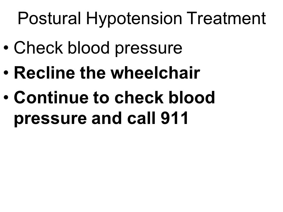 Postural Hypotension Treatment