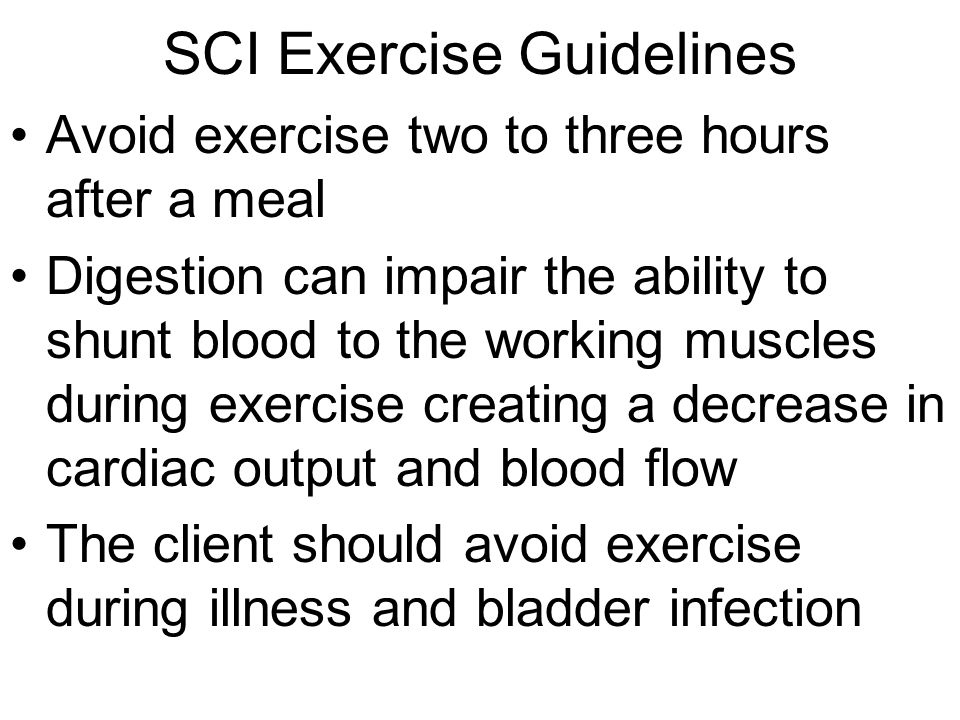 SCI Exercise Guidelines