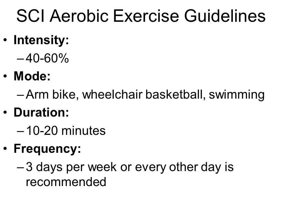 SCI Aerobic Exercise Guidelines