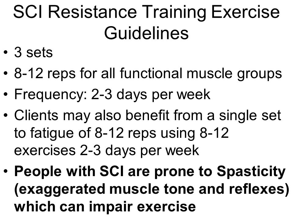 SCI Resistance Training Exercise Guidelines