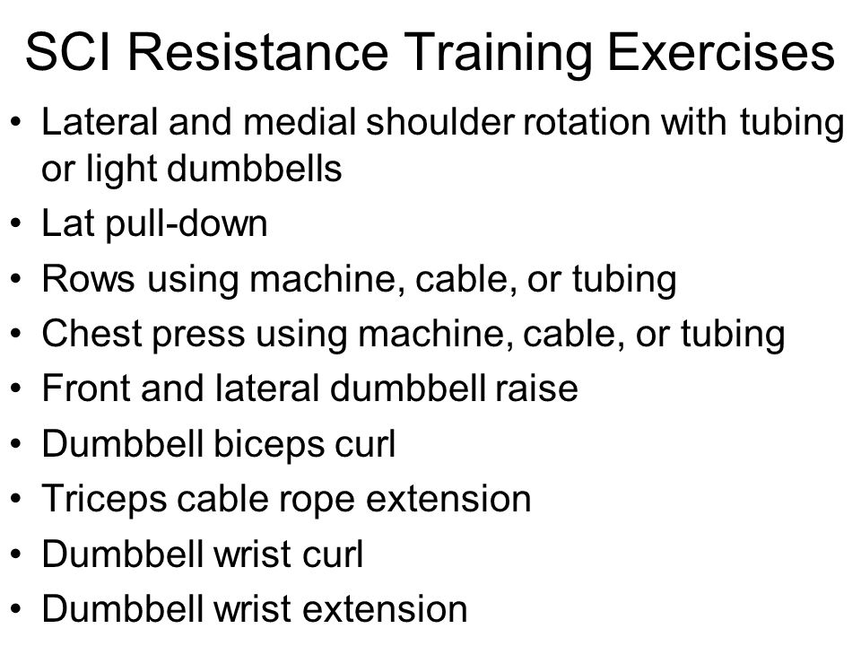 SCI Resistance Training Exercises