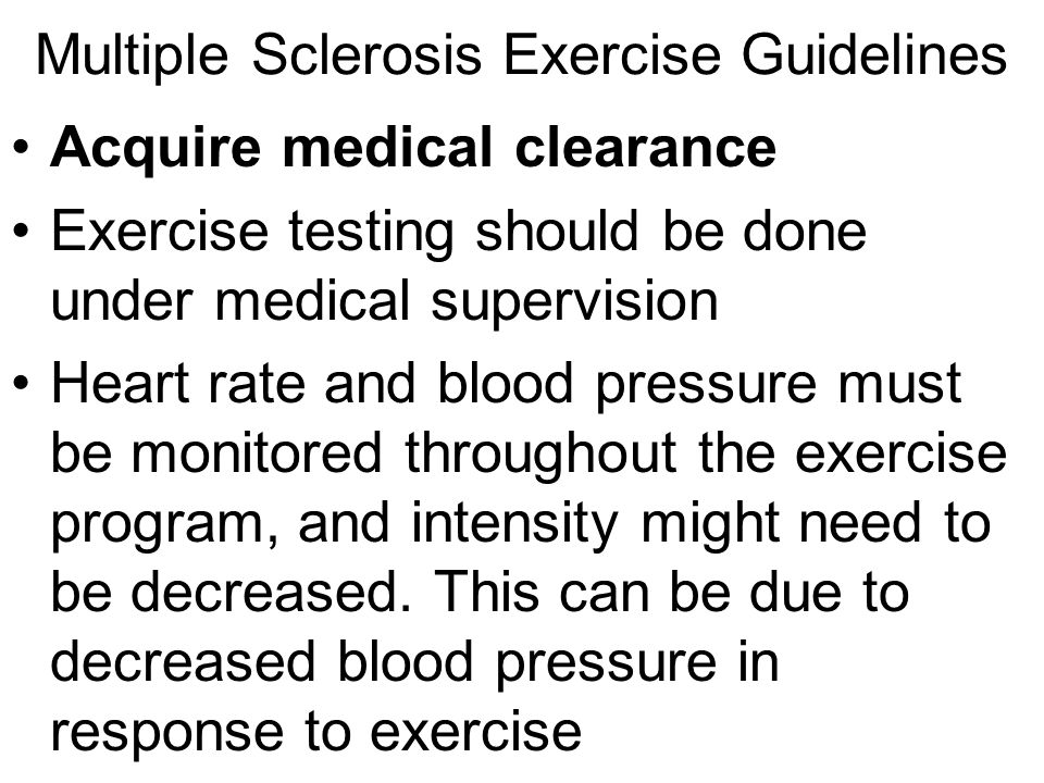 Multiple Sclerosis Exercise Guidelines