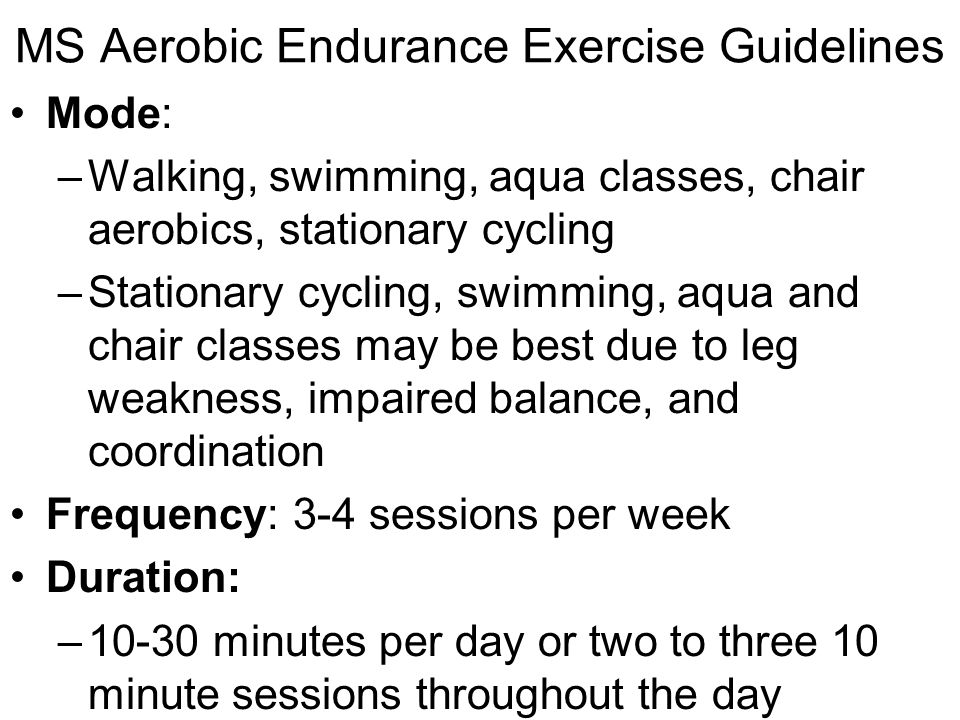 MS Aerobic Endurance Exercise Guidelines