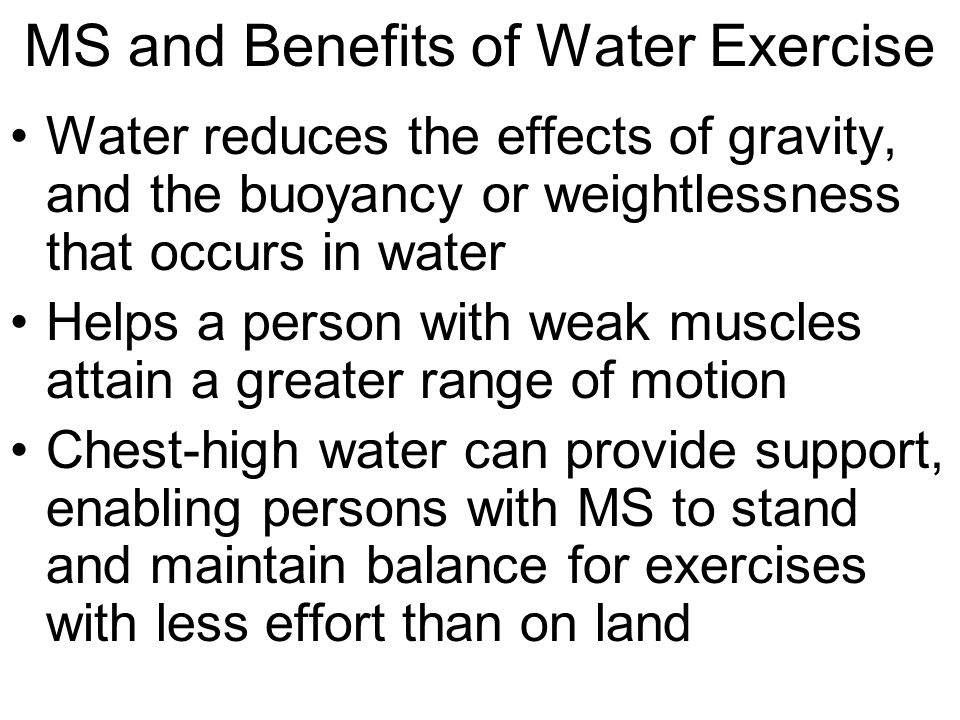 MS and Benefits of Water Exercise