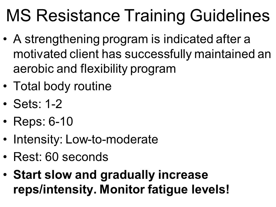 MS Resistance Training Guidelines