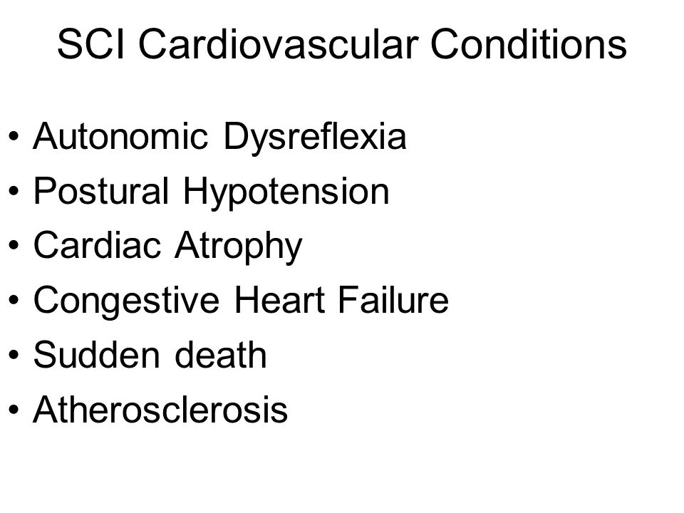 SCI Cardiovascular Conditions