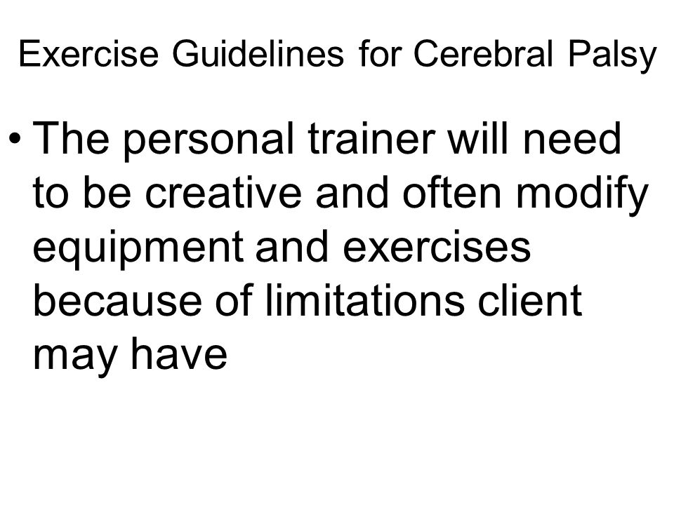 Exercise Guidelines for Cerebral Palsy
