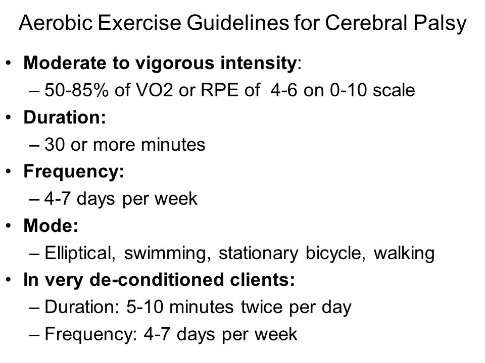 Aerobic Exercise Guidelines for Cerebral Palsy