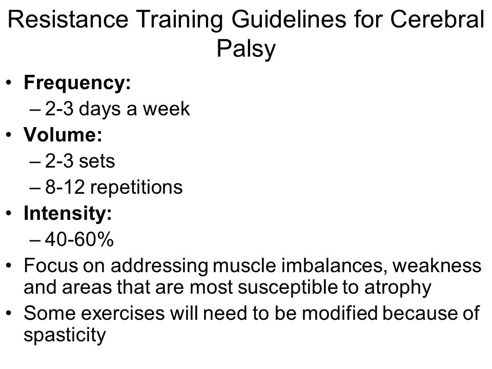Resistance Training Guidelines for Cerebral Palsy