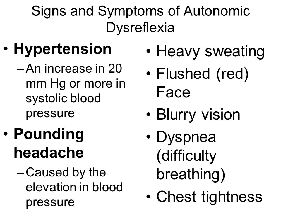 Signs and Symptoms of Autonomic Dysreflexia
