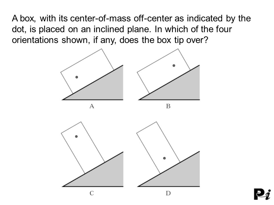 A box, with its center-of-mass off-center as indicated by the dot, is placed on an inclined plane. In which of the four orientations shown, if any, does the box tip over