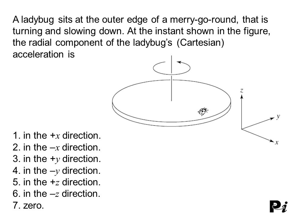 A ladybug sits at the outer edge of a merry-go-round, that is turning and slowing down. At the instant shown in the figure, the radial component of the ladybug's (Cartesian) acceleration is