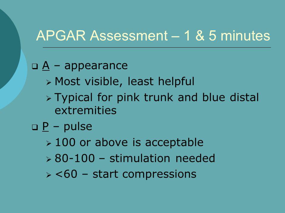 APGAR Assessment – 1 & 5 minutes