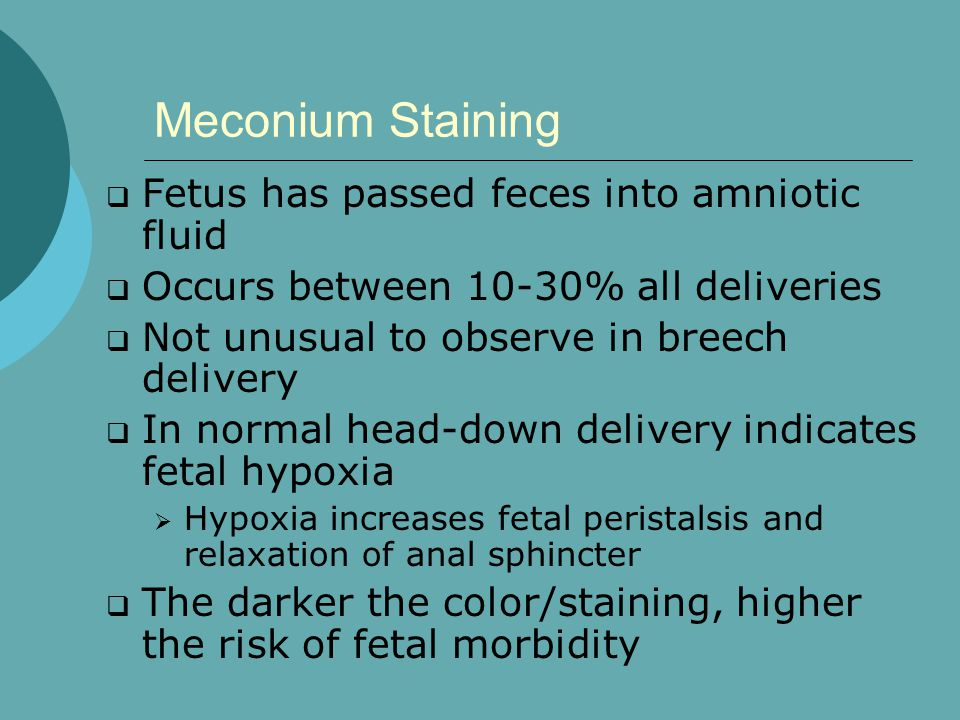 Meconium Staining Fetus has passed feces into amniotic fluid