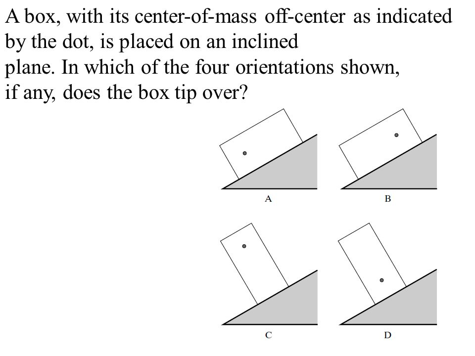 A box, with its center-of-mass off-center as indicated