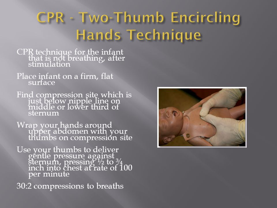 CPR - Two-Thumb Encircling Hands Technique