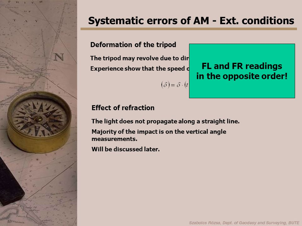 Systematic errors of AM - Ext. conditions