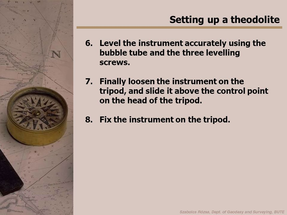 Setting up a theodolite