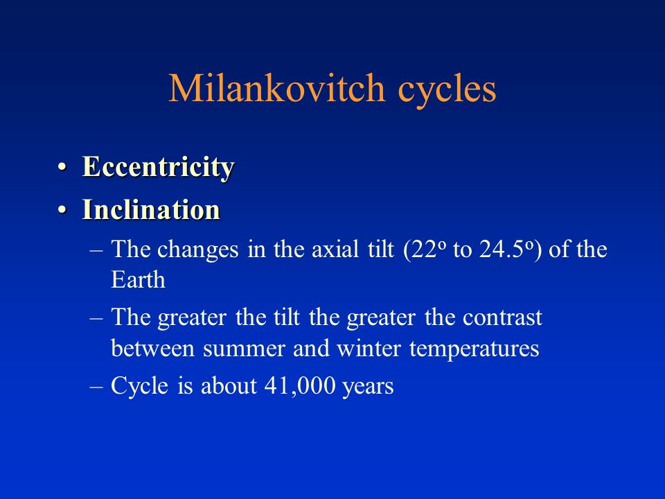 Milankovitch cycles Eccentricity Inclination