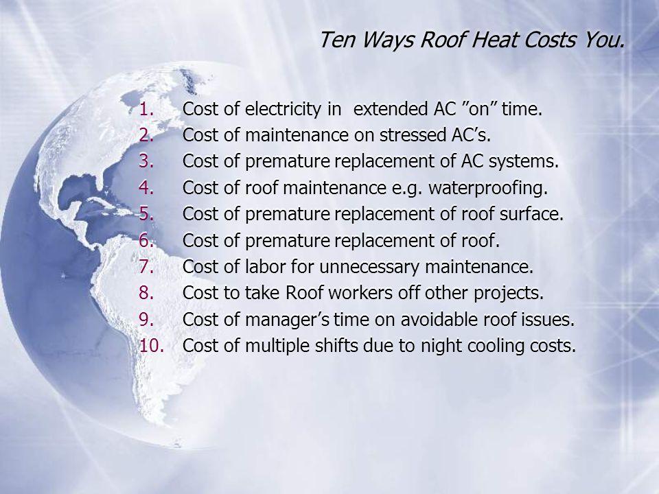 Ten Ways Roof Heat Costs You.