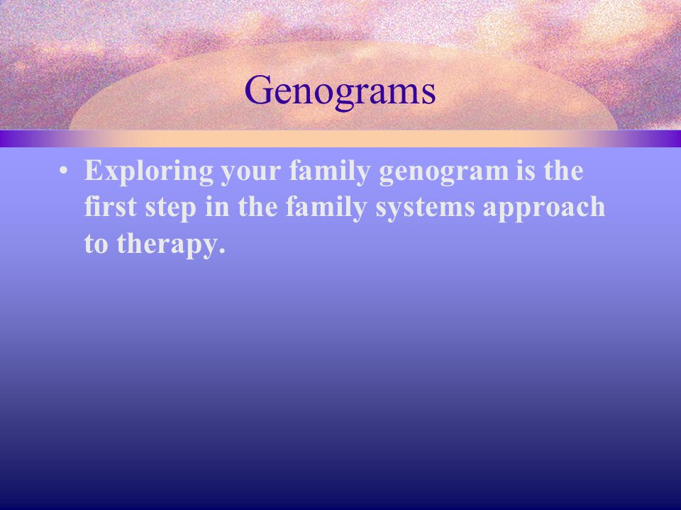 Genograms Exploring your family genogram is the first step in the family systems approach to therapy.