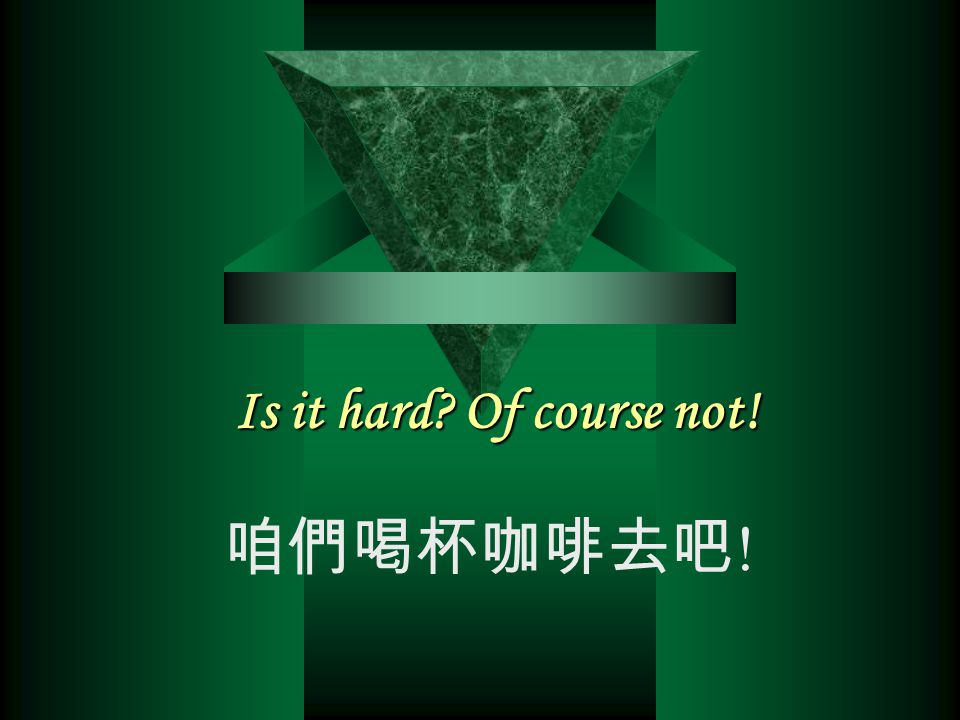 Is it hard Of course not! 咱們喝杯咖啡去吧!