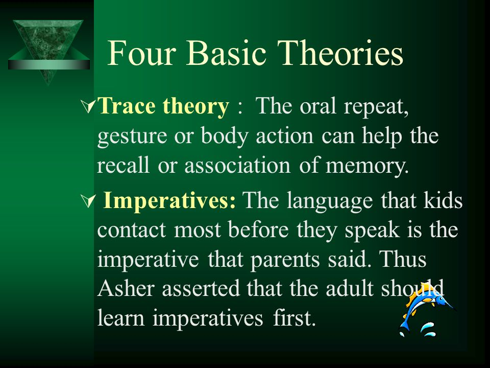 Four Basic Theories Trace theory : The oral repeat, gesture or body action can help the recall or association of memory.