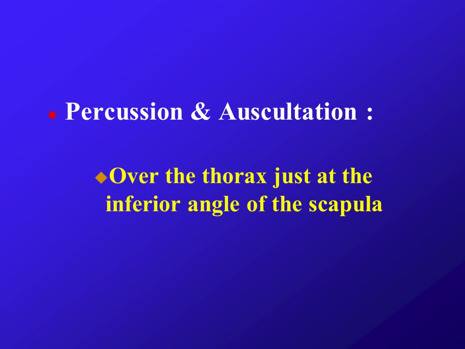 Percussion & Auscultation :